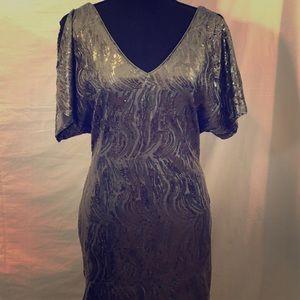 Shimmering Pewter Cold Shoulder Holiday Dress Sz 2